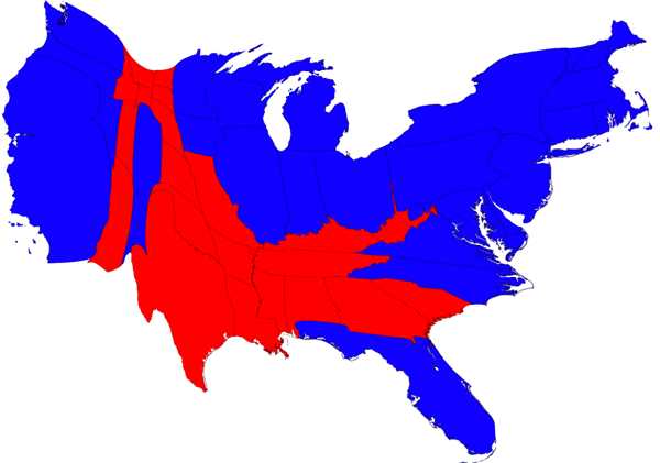 Cartogram of election results.