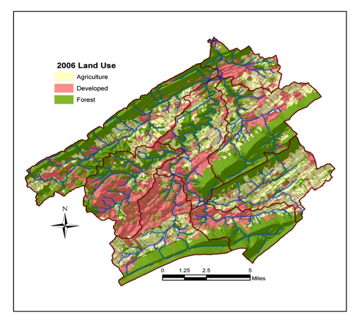 Map of land use in the Spring Creek Watershed in central Pennsylvania.