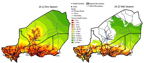 Maps Visualizing the Travel Time to Reach a Health Facility in Niger...