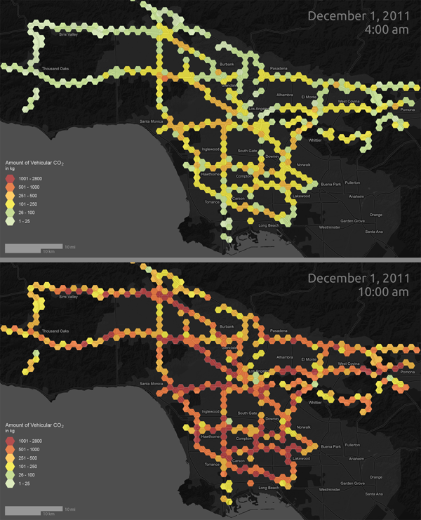 A Temporal Comparison of Vehicle Emission in Los Angeles on December 1, 2011