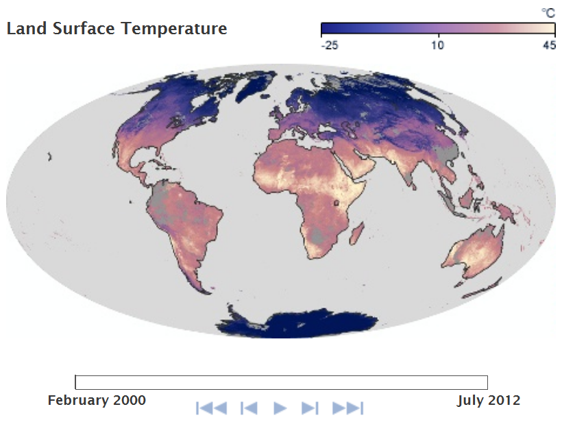 Global Land Surface Temperature Map