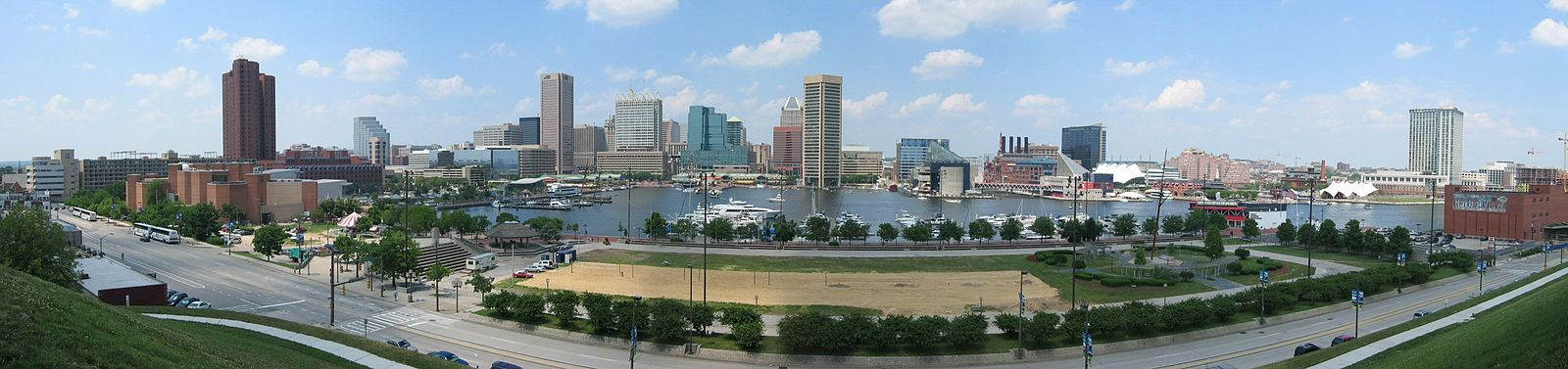 Inner Harbor, Baltimore, surrounded by buildings