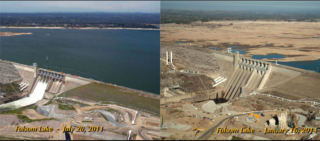 Folson lake before and after drought (July 2011 and Jan 2014) Before image has high water above the dam. After has almost no water above the dam.