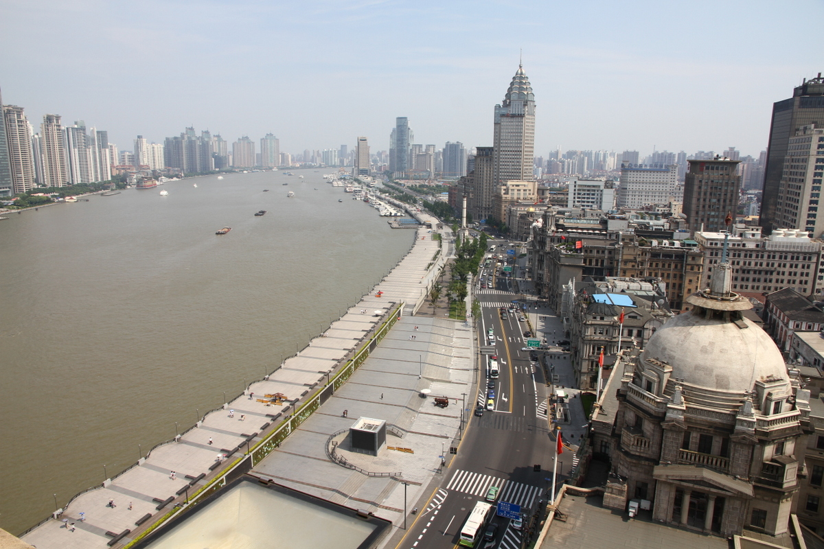 A famous water front in Shanghai, China. Lined with skyscrapers