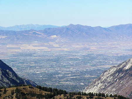 Mountains surrounding Salt Lake City in a valley
