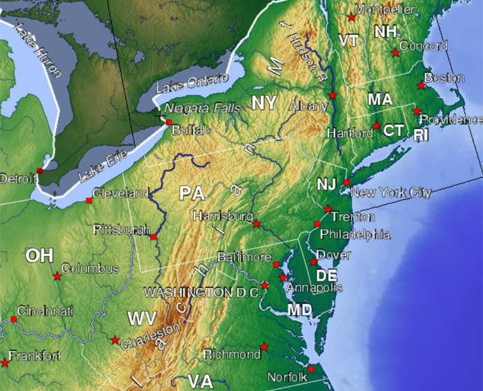 Urban Landscapes - Topographical map eastern us