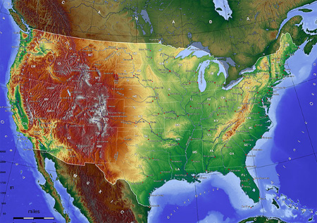 Topographic map of the United States: Explained Below