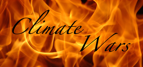 Flames with the words 'Climate Wars' across them