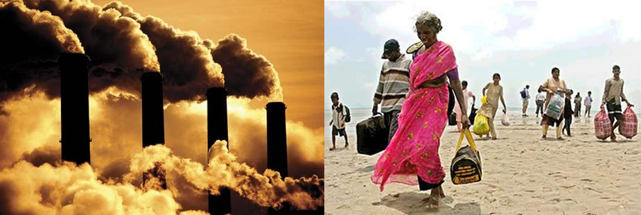 left: smokestacks and billowing smoke. right: a woman carrying water in Sunderbans
