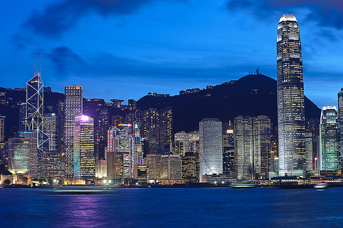 Hong Kong coastal skyline at night