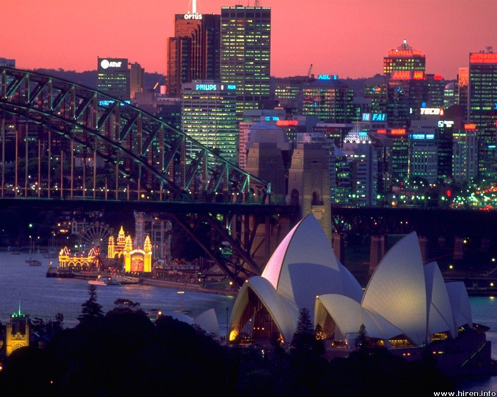 Sydney, Australia. Coastal city skyline at dusk