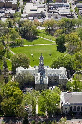Aerial view of the University Park campus of Penn State.