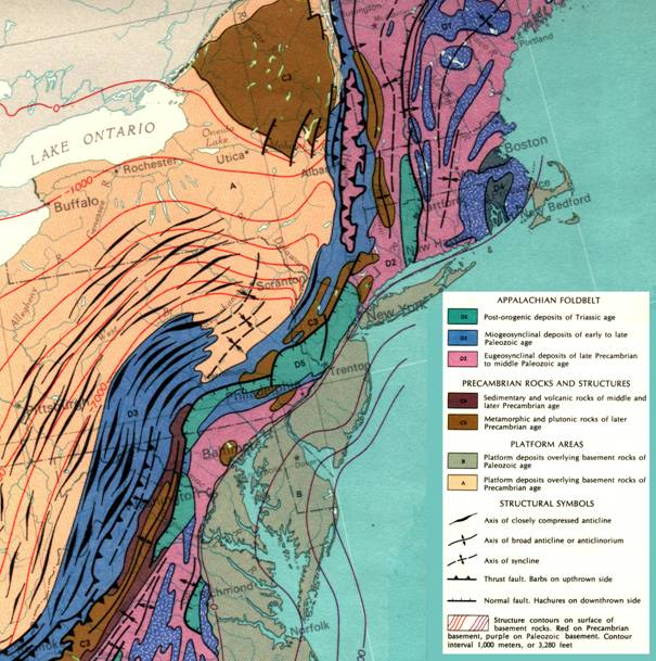 Map of Appalachian Foldbelt. Different ages and stages of compression