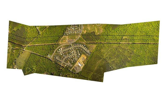 aerial photo of Aquia Harbour. Neighborhood split by proposed transmission lines