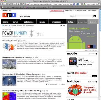 screen catpture of the Power Hungry website