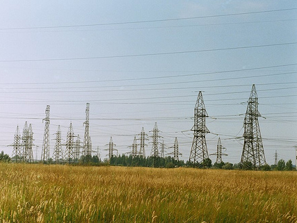 Power lines in a field