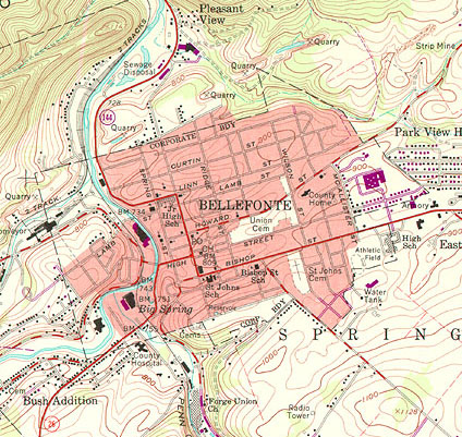 Topographic map of Bellefonte, PA