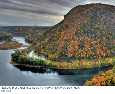 delware water gap. River curving around mountain in fall