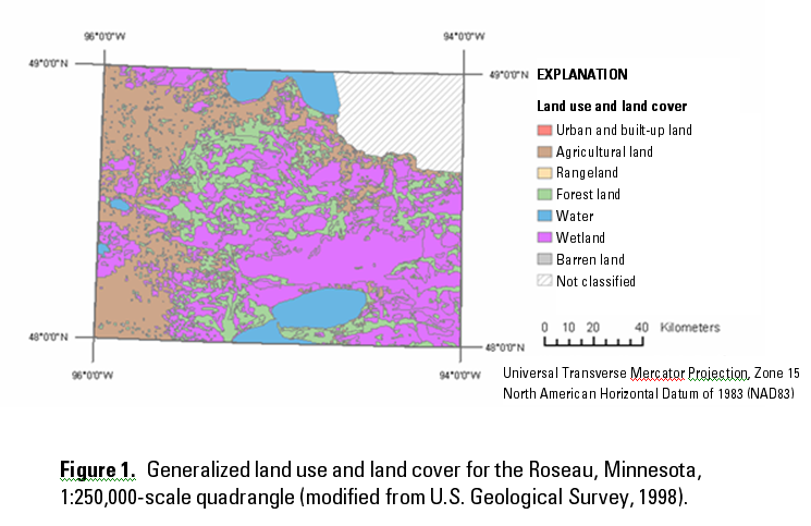 Generalized land use &  land cover for the Roseau, MN. Top 3 uses: agriculture, wetland, and water