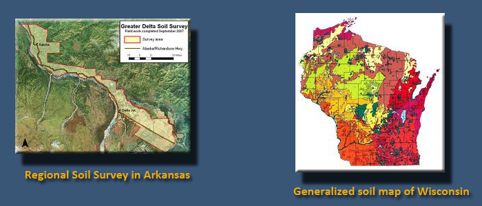 Two images side by side. Left: map of regional soil survey in Arkansas. Right: generalized soil map of Wisconsin.