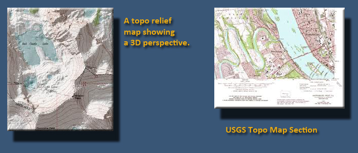 Two images side by side. Left: topographic relief map showing a 3D perspective. Right: USGS topographic map section.