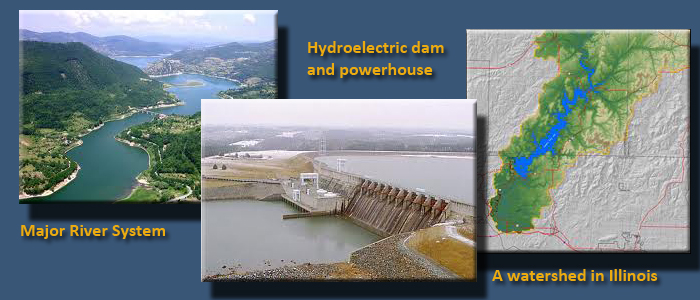 Three images side by side. Left: a major river systemt. Middle: a hydroelectric dam and powerhouse. Right: map of a watershed in Illinois.