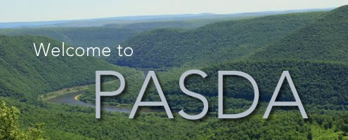 "PA mountains with ""Welcome to PASDA"" (Pennsylvania Spatial Data Access) overlaid."