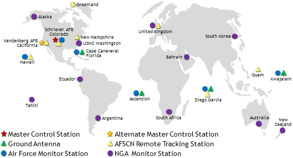 World map showing locations of the Ground Control segment of the GPSroconsellation