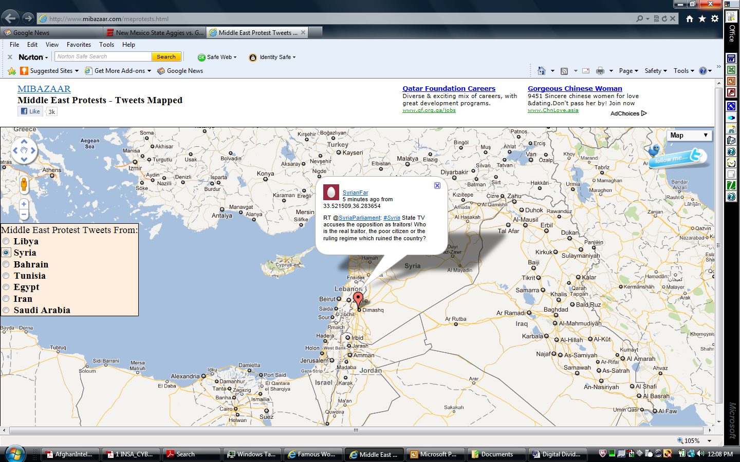 screen shot of MIBAZAAR Middle East Protest Tweets mapped, see image caption