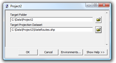 Screen capture showing the project 2 tool