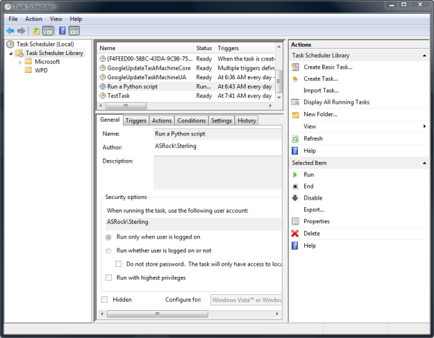 Screen capture of the Windows Task Scheduler
