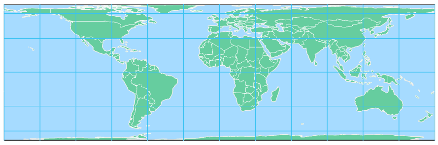Map of Albers equal area projection, see text above