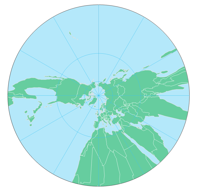 gnomonic projection, centered on the North Pole, see text above