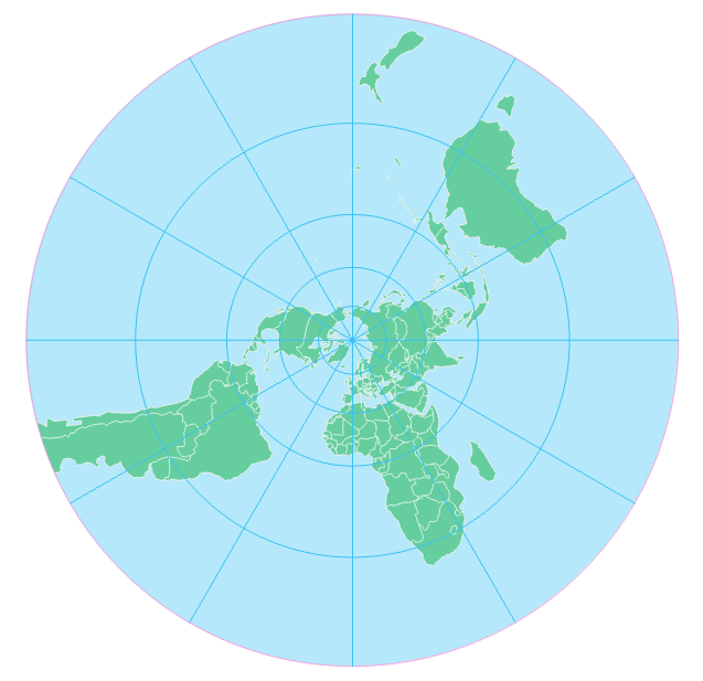 stereographic projection, centered on north pole, see text above