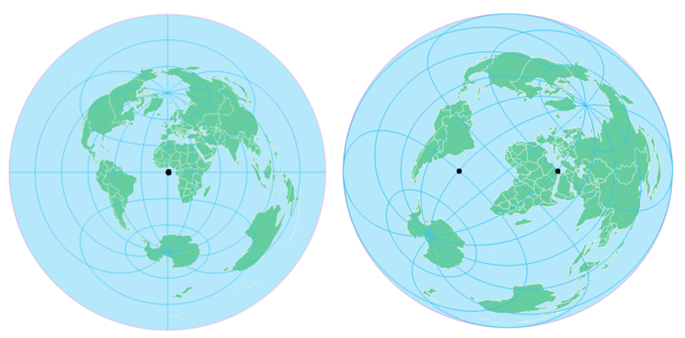 azimuthal equidistant (left); two-point equidistant (right), see surrounding text