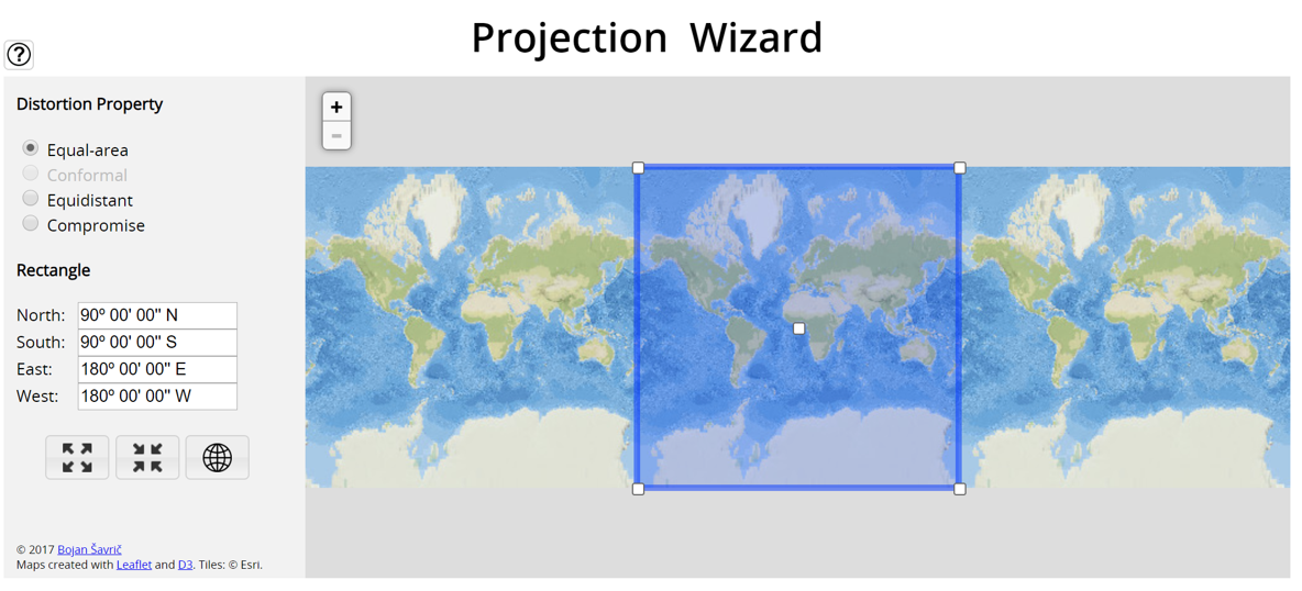 screen capture of projection wizard, see text below