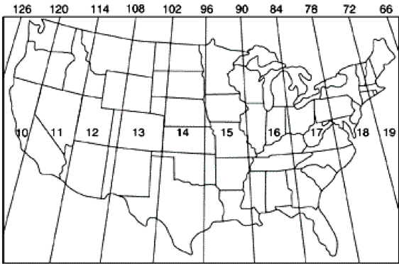Universal Transverse Mercator Grid for the US, see surrounding text