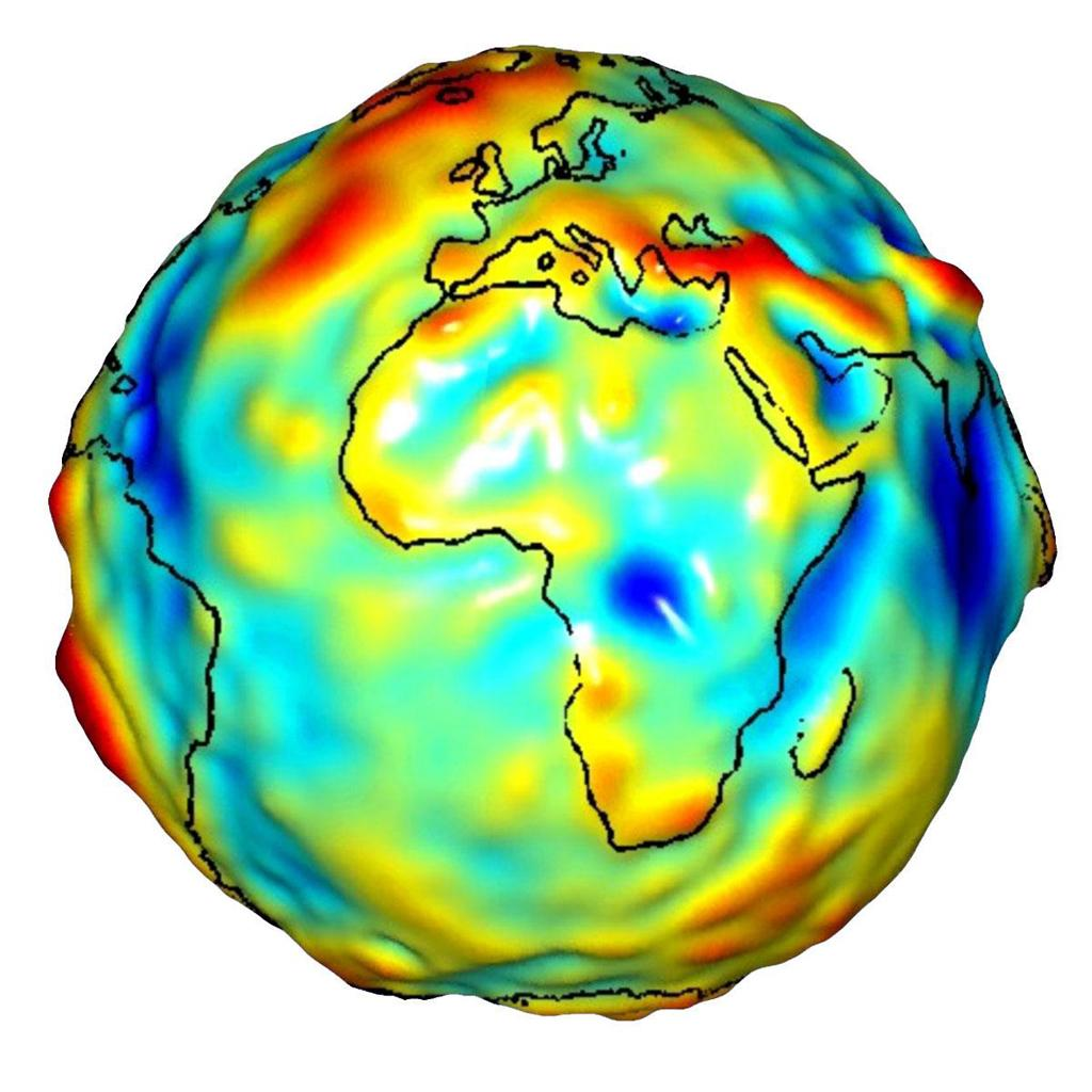 colorful depiction of Earth using the geoid model, see surrounding text