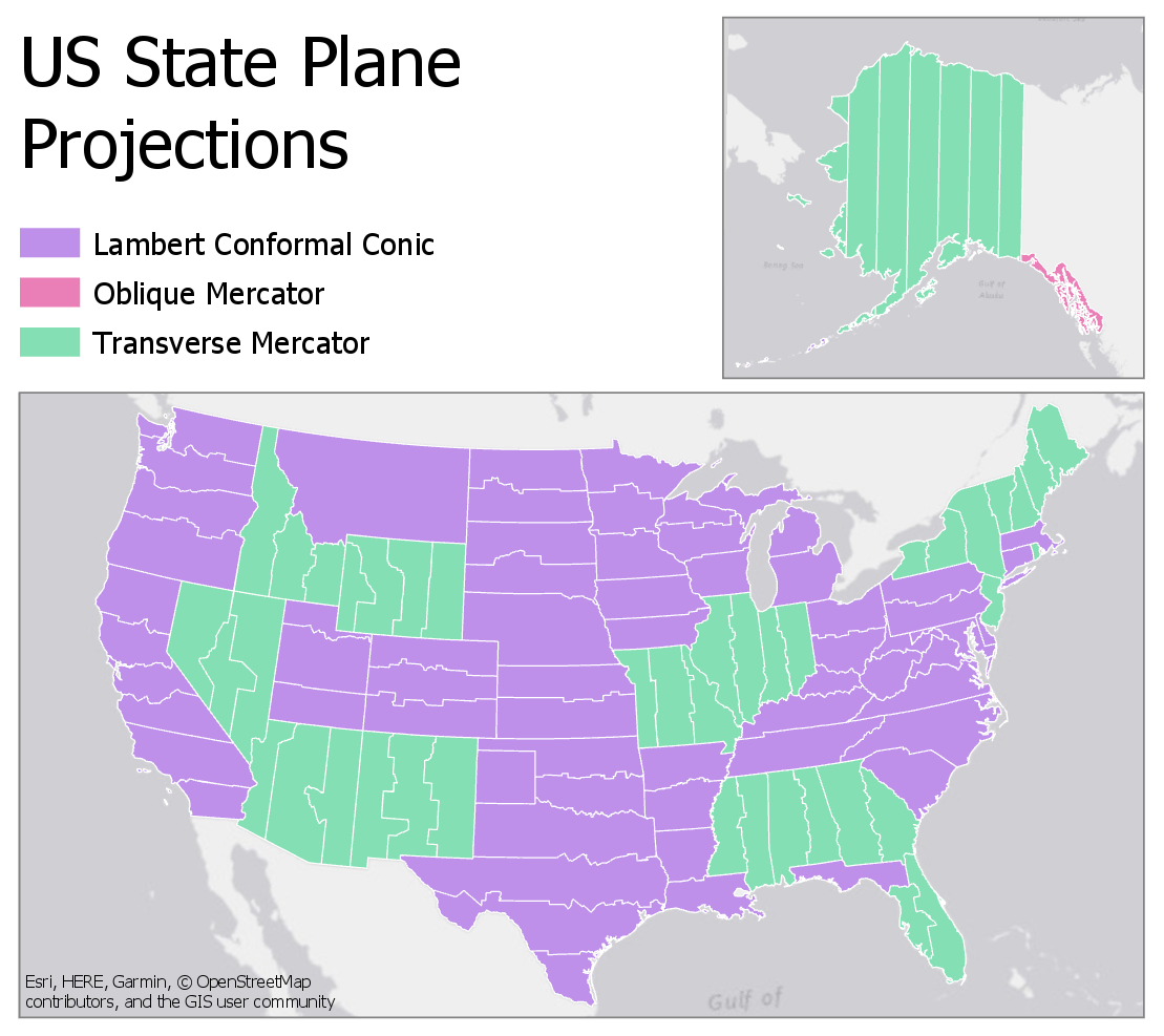Projections used in US State Plane Reference Systems: Lambert Conformal Conic, Oblique Conformal Conic, Transverse Mercator, see text below