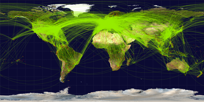 map of scheduled flights in June 2009, see surrounding text