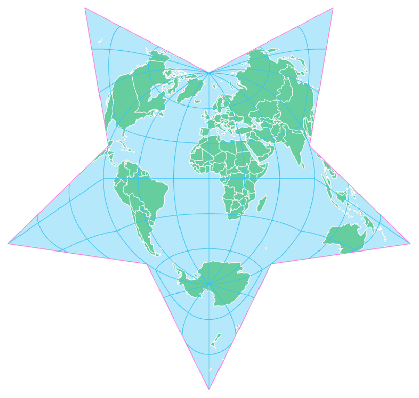 The Berghaus Star Projection, projection of the earth's surface in a star shape