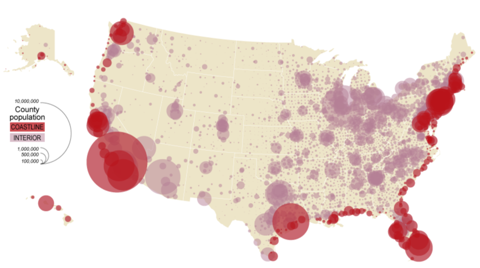 bivariate proportional symbol map of the USA - see surrounding text