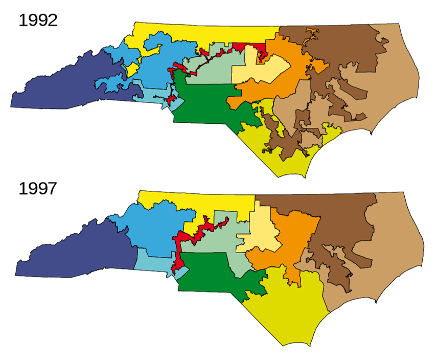 North Carolina Congressional Districts 1992-2001, side by side map comparison example