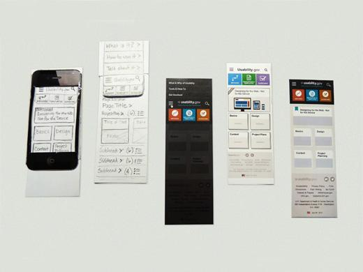 paper prototypes for a mobile website