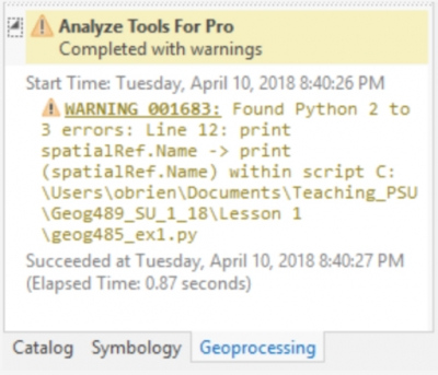 1 5 Working with Python 3 and arcpy in ArcGIS Pro | GEOG 489