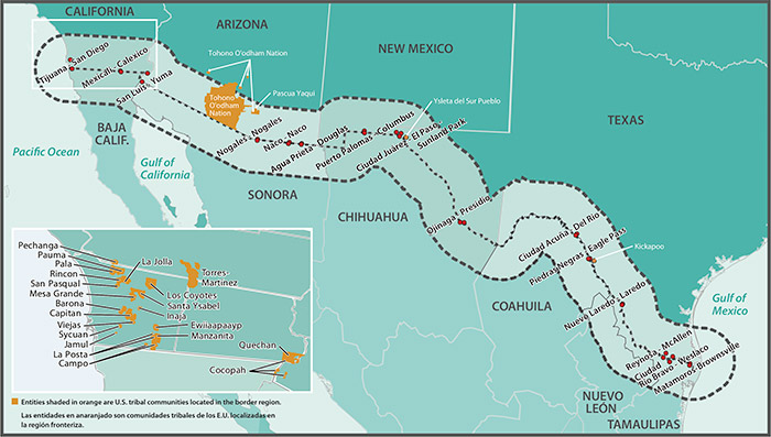 map of the us mexico border region