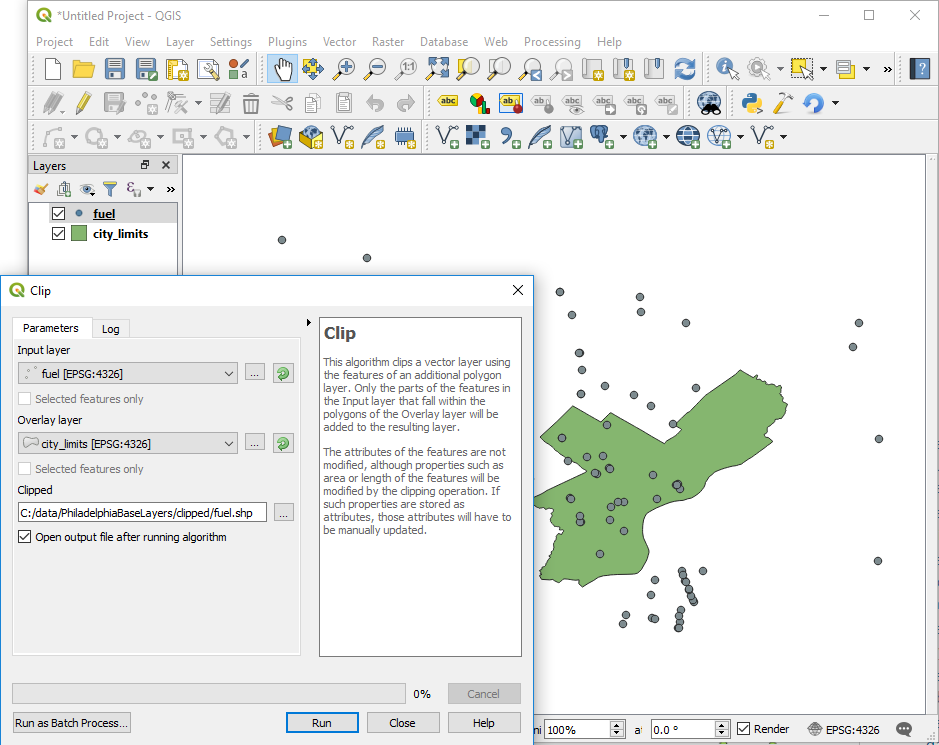 Walkthrough: Clipping and projecting vector data with QGIS