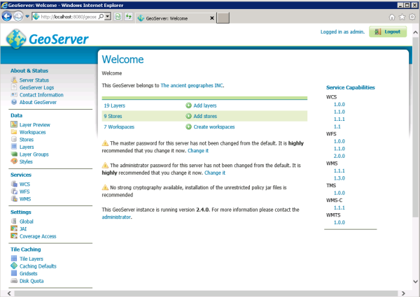 Screen capture: GeoServer Welcome page