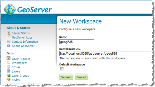 Creating a new workspace in GeoServer