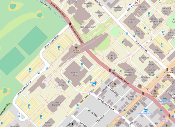 Screen Capture: OpenStreetMap showing part of the Penn State campus